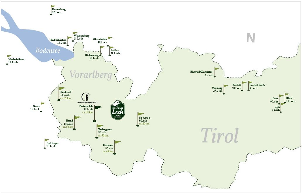Golf courses at Vorarlberg, Switzerland, Germany and Tyrol