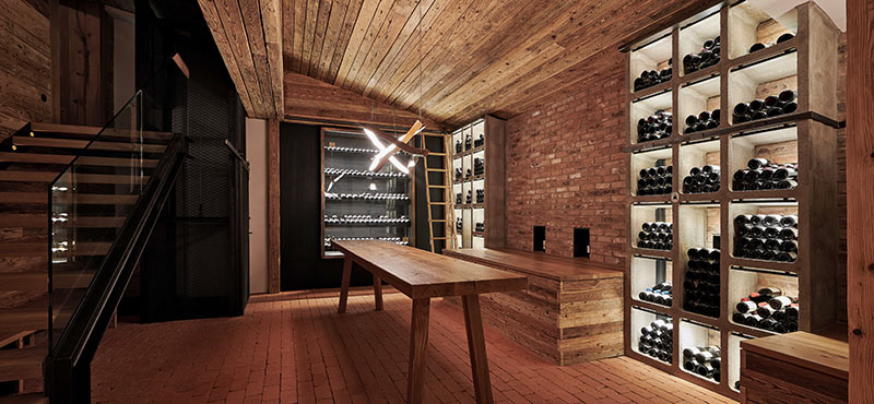 The new wine cellar at the Burg Hotel am Arlberg